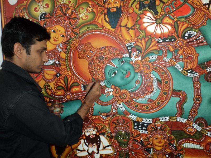 Sasthrasarman prasad t s mural painting artist for Ananthasayanam mural painting